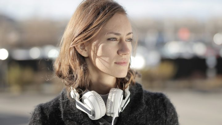 woman with bass headphones