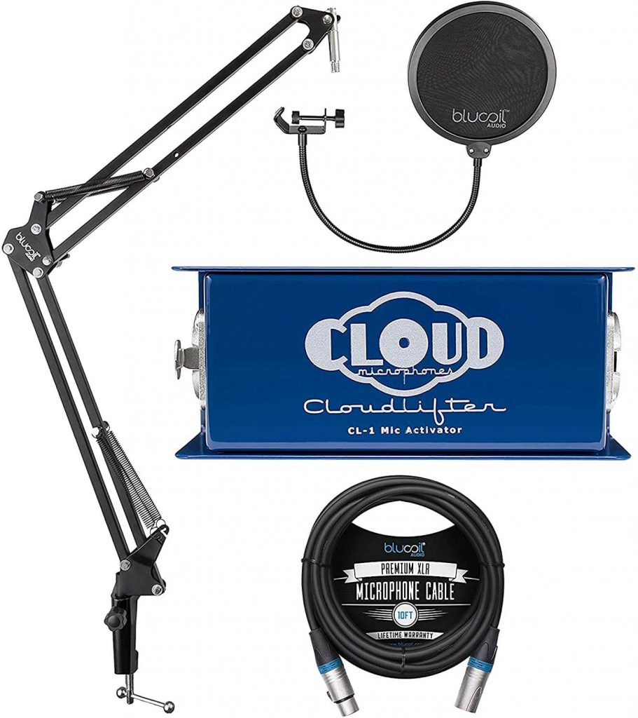Cloud Microphones CL-1 Cloudlifter 1 Channel Microphone Activator for Dynamic, Ribbon, and Tube Mics Bundle with Blucoil 10-FT Balanced XLR Cable, and Boom Arm Plus Pop Filter