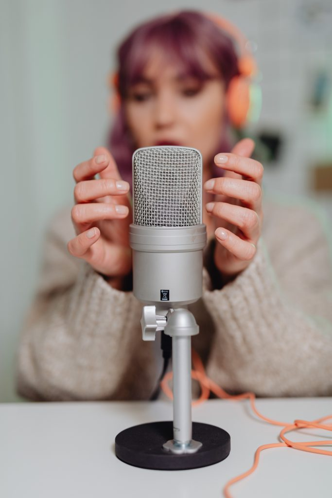 microphone and woman