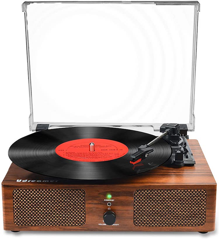 Vinyl Record Player Bluetooth Turntable with Built-in Speakers
