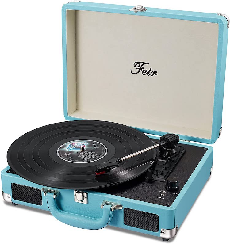 Vinyl Stereo Blue Record Player 3 Speed Portable Turntable Suitcase